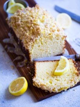 Sliced Lemon Crumb Loaf with lemon glaze