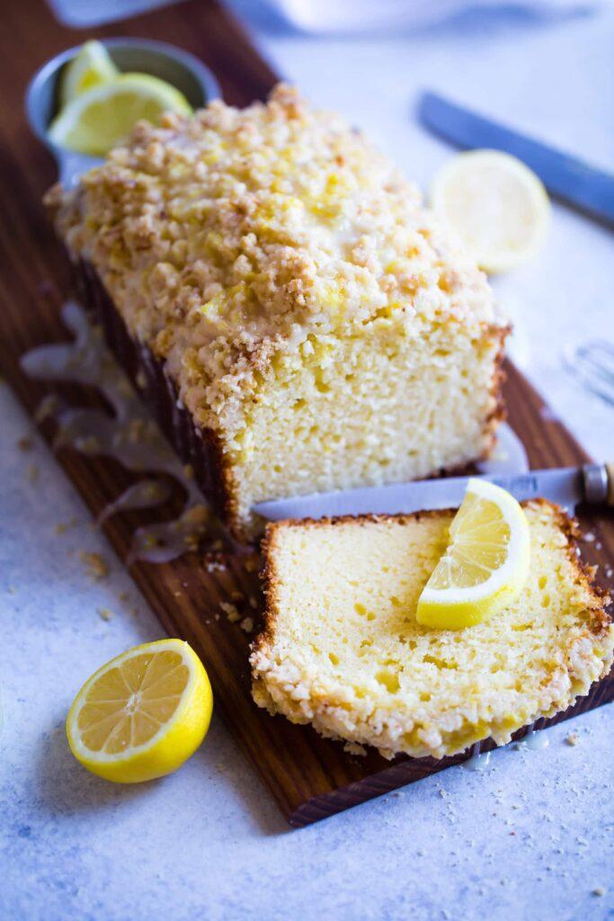 sliced lemon bread with lemon drizzle
