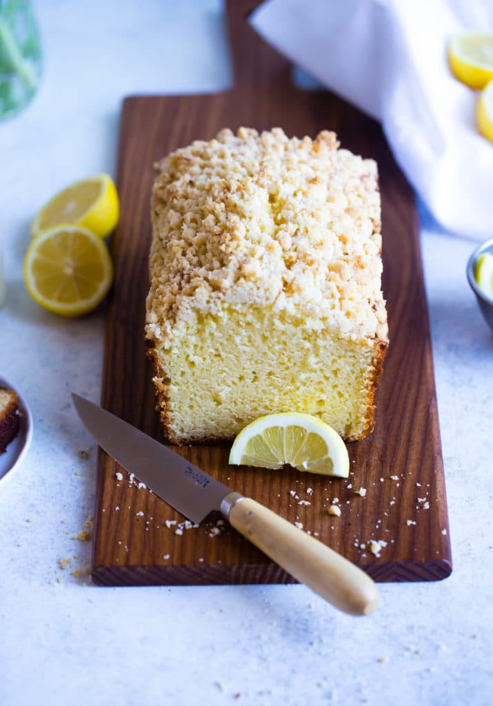 Lemon Crumb Loaf on wooden board