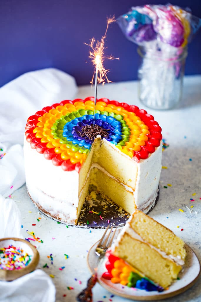 vanilla almond cake with fiery sparkler