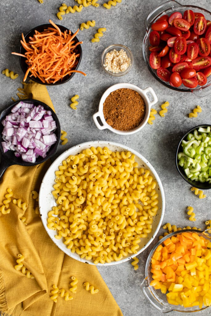 picture of pasta ingredients in bowls with linen