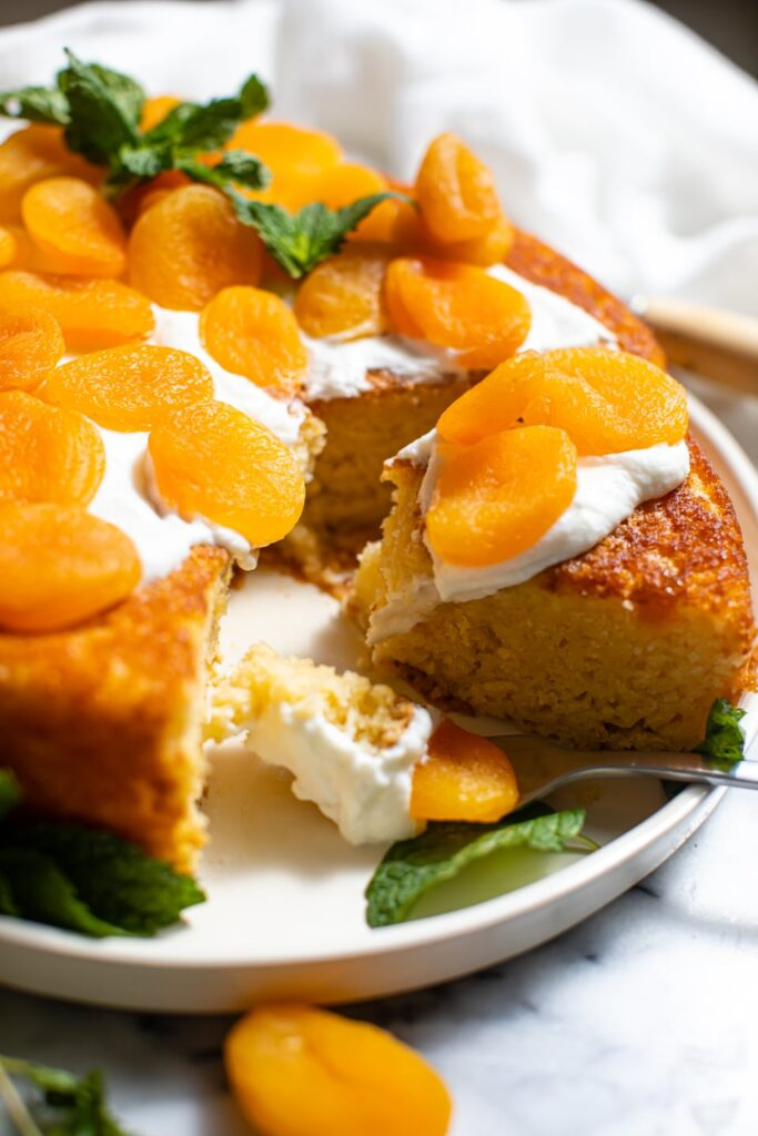 slice of apricot snacking cake on plate