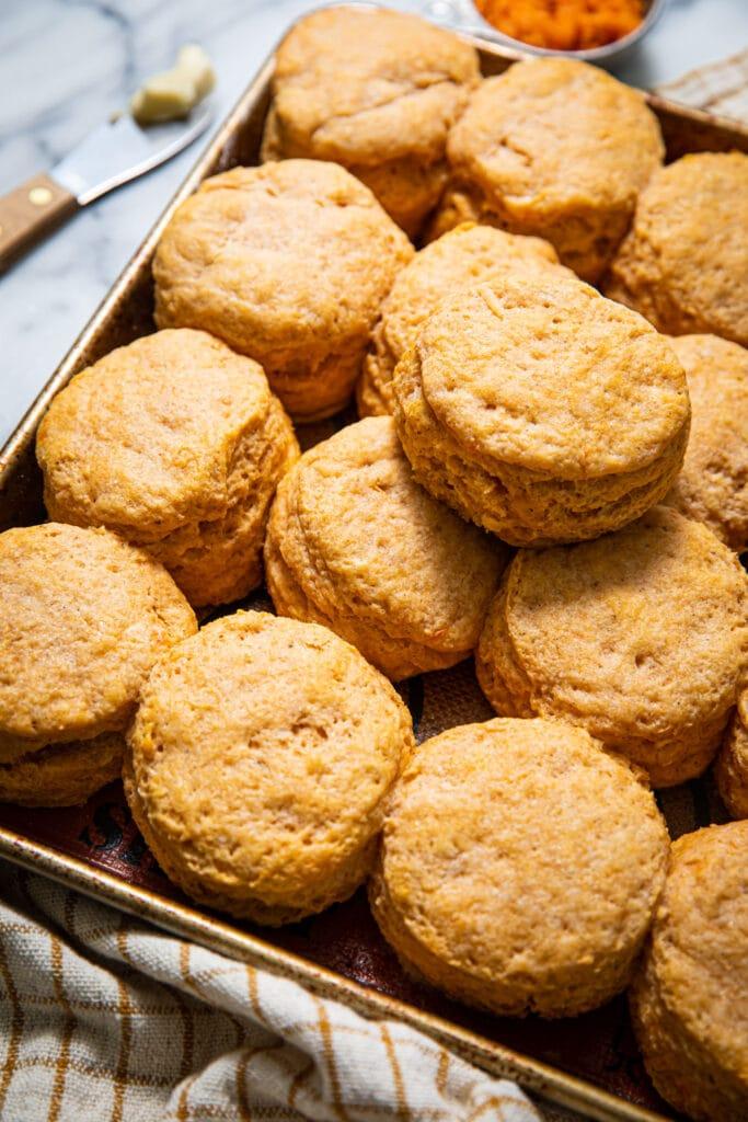 sweet potato biscuits on gold baking sheet