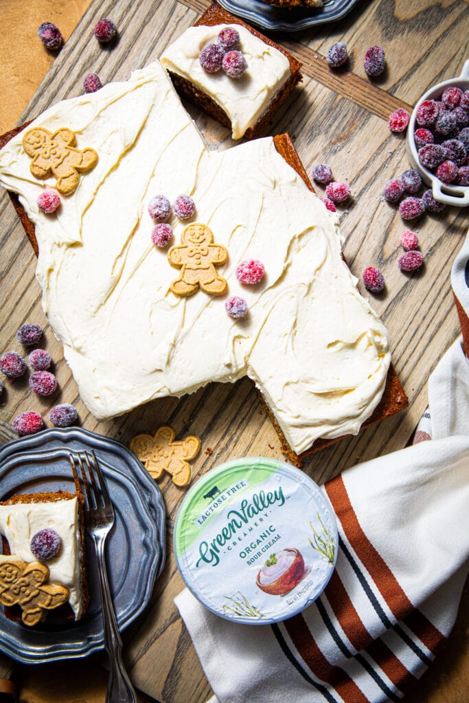gingerbread sheet cake with green valley creamery cream cheese on the side