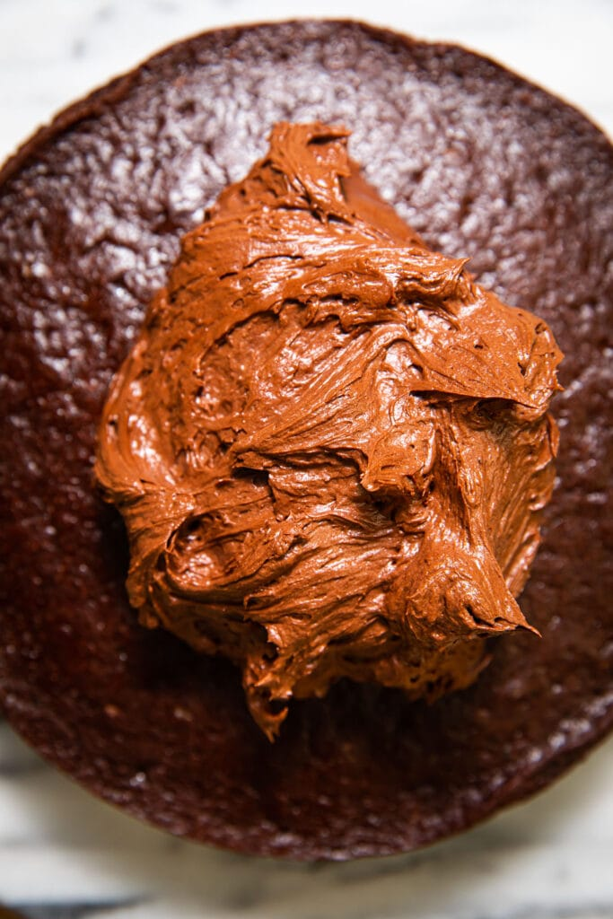 chocolate frosting piled on top of chocolate cake
