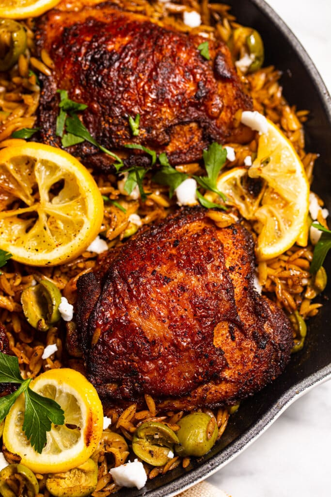 harissa chicken thighs with olives and orzo in skillet