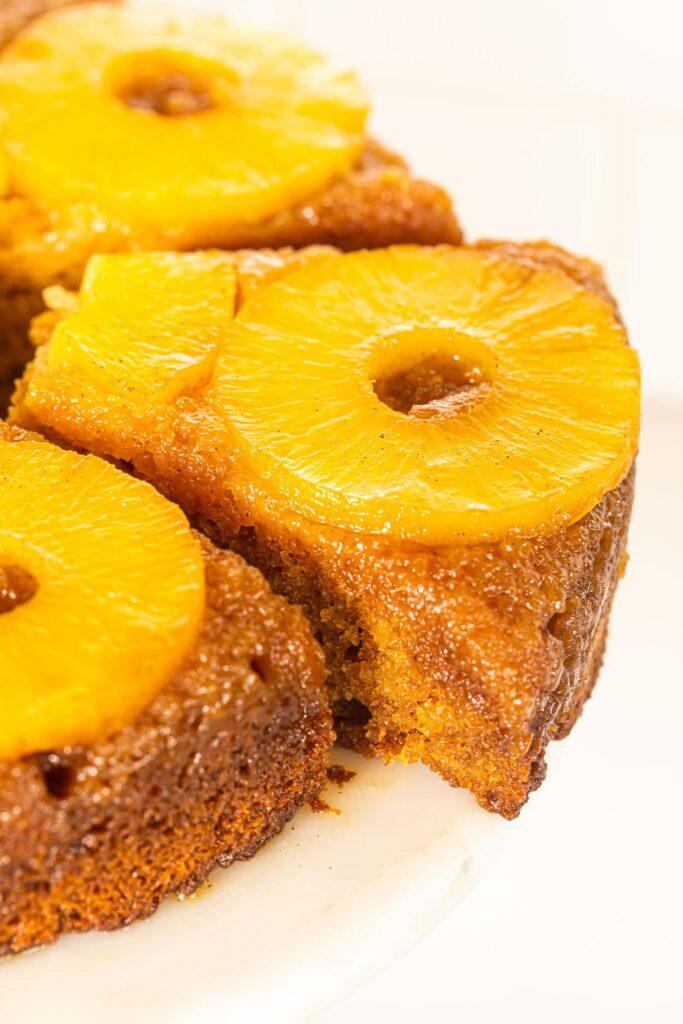 bourbon pineapple upside down cake on white dish