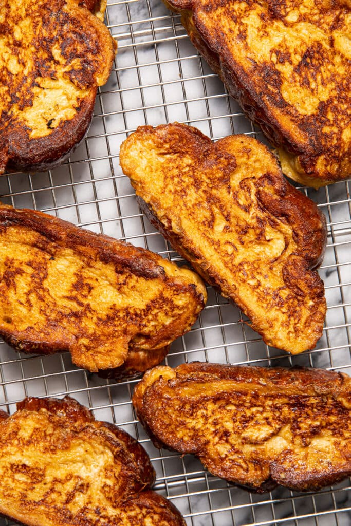 challah French toast cooling on wire rack
