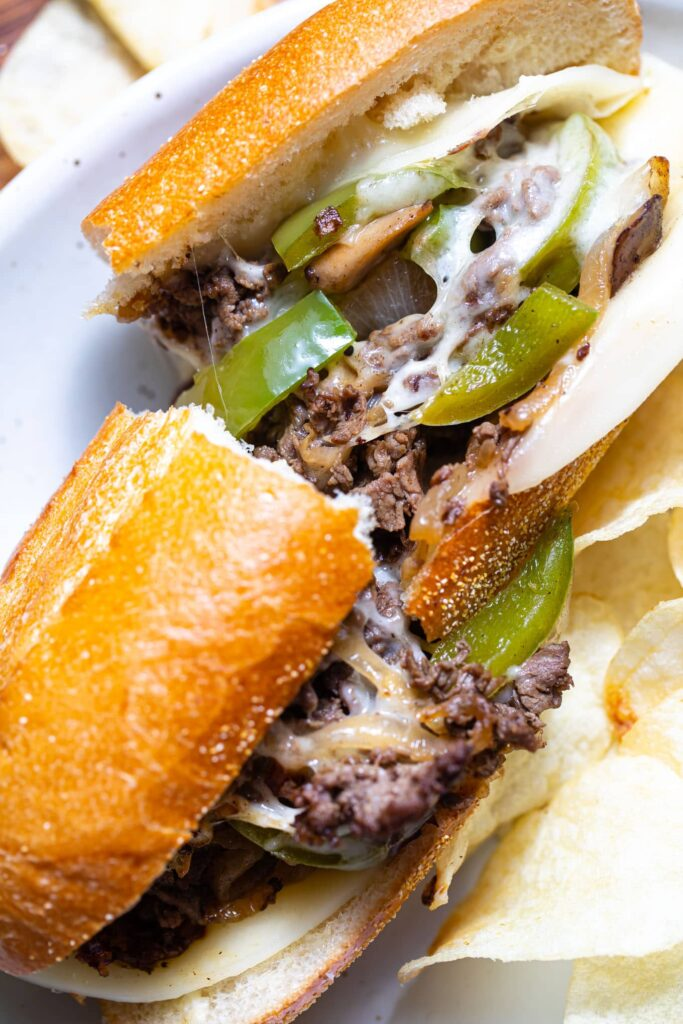 Philly cheesesteak sandwich on plate