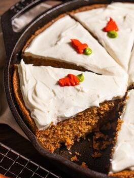 skillet carrot cake in black cast iron pan