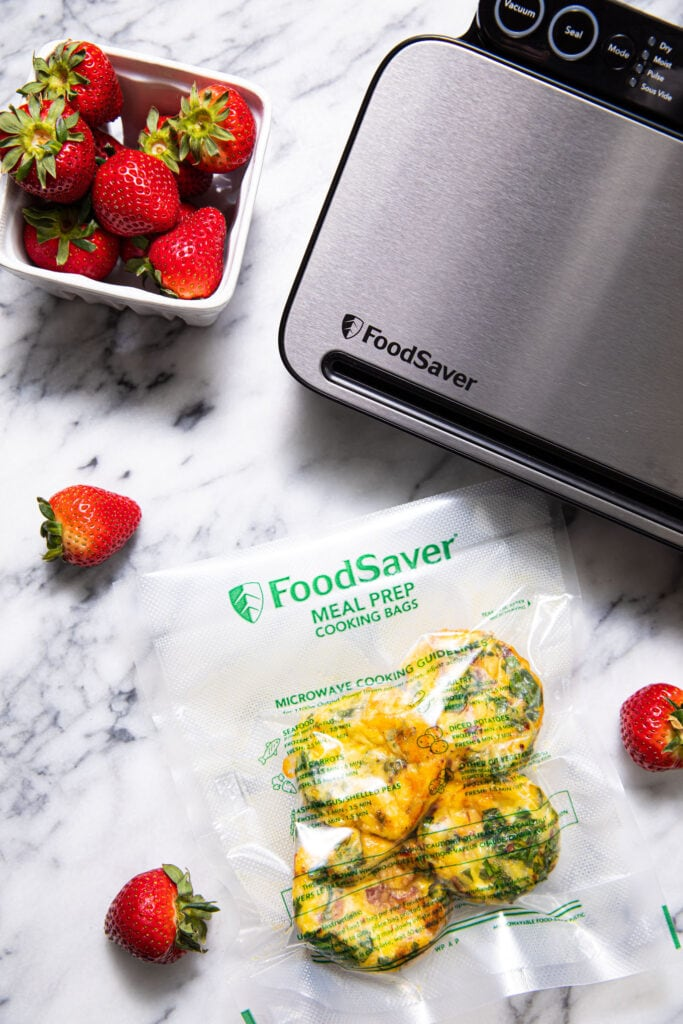 egg bites in fooodsaver vacuum seal bag with food saver preservation system