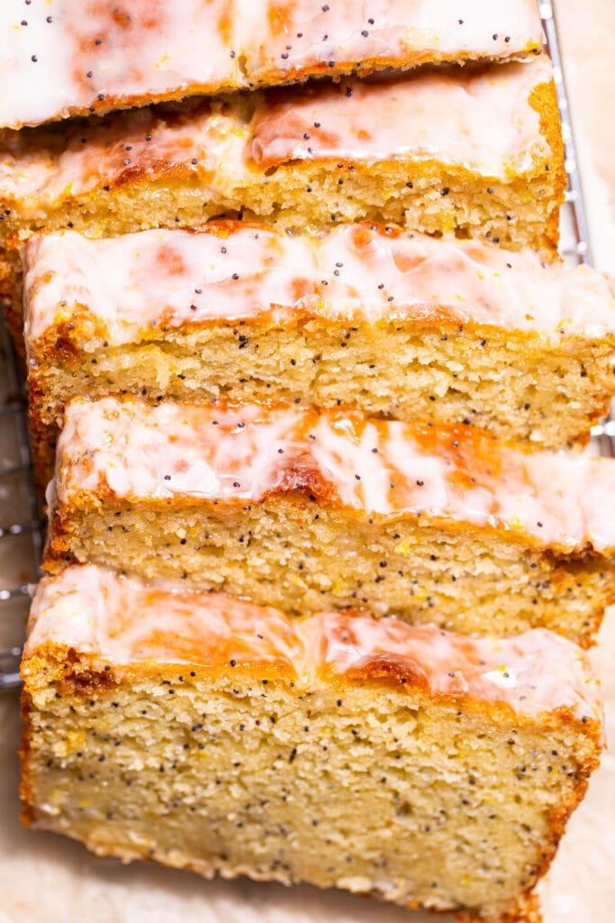 sliced lemon poppy seed bread