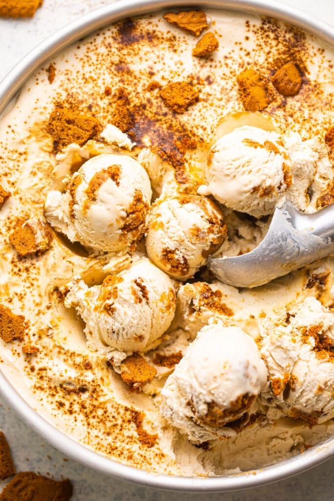 biscoff espresso ice cream scoops in silver round pan