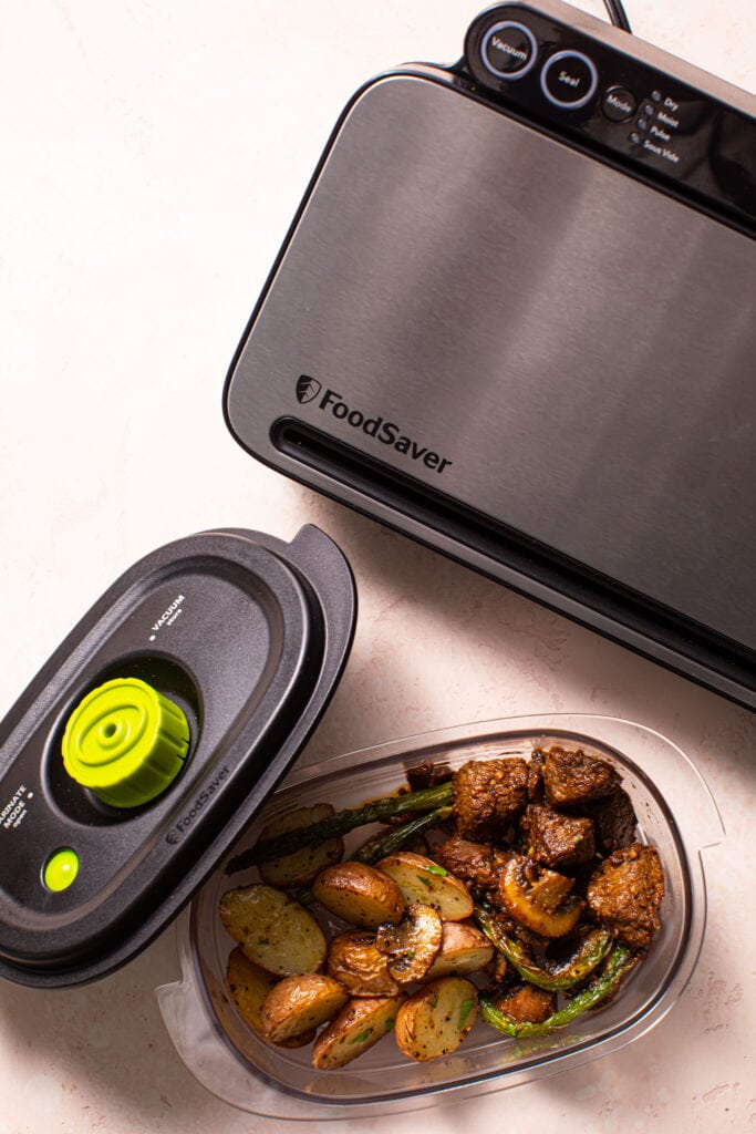 steak tips meal in food saver food container