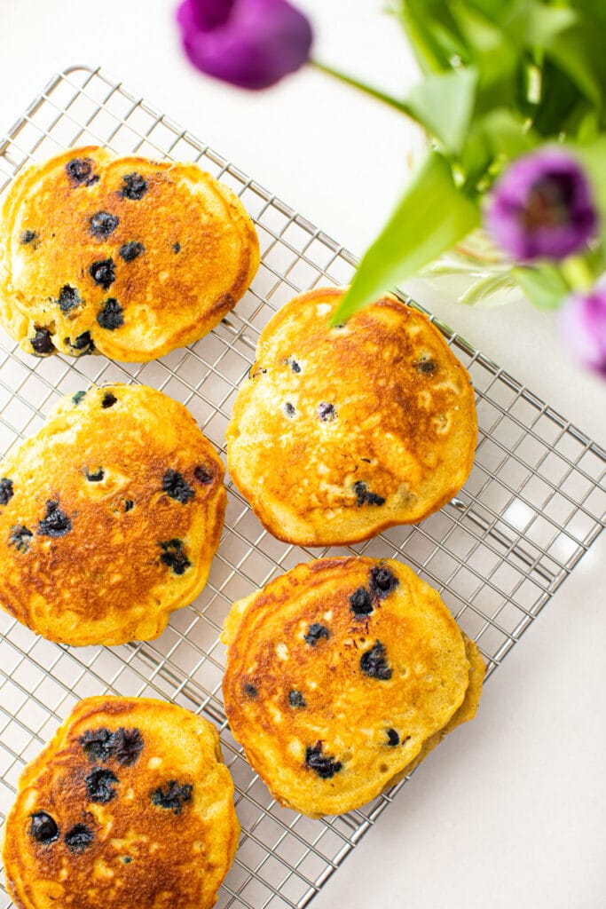 blueberry pancakes on wire rack