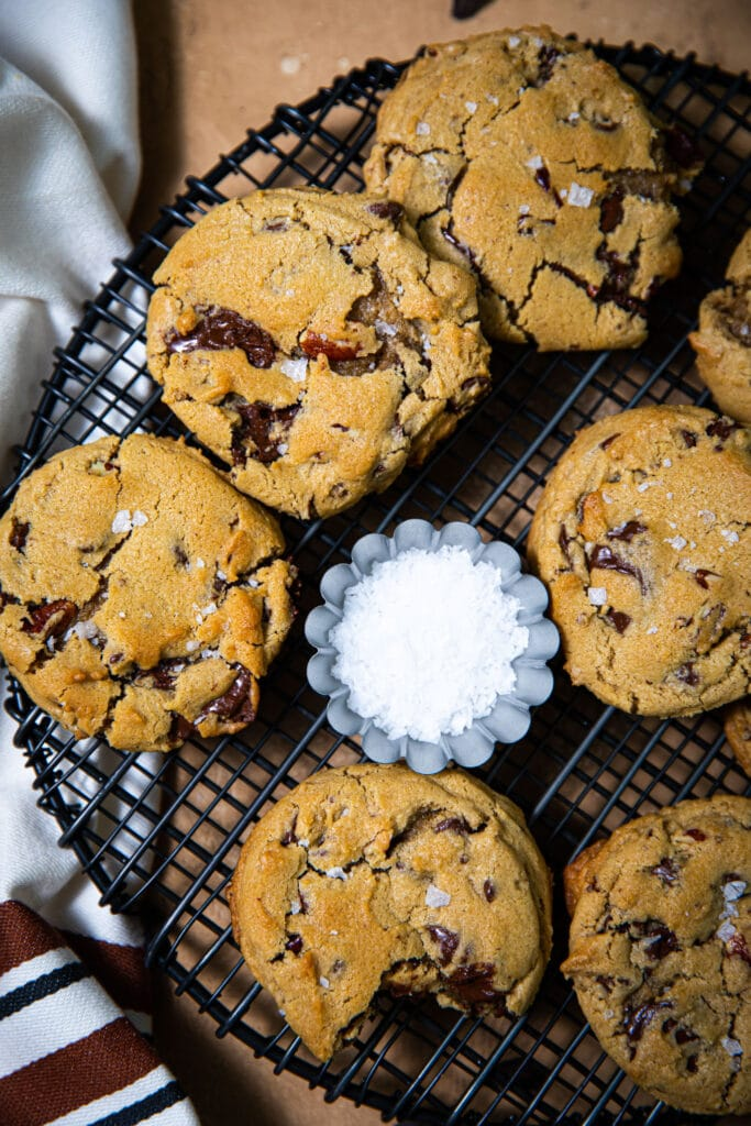 chocolate chunk cookies on black wire rack
