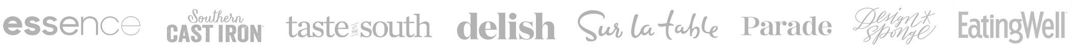 Logos: Essence, Taste of the South, Sur la Table, Southern Cast Iron, Delish, Parade, DesignSponge, EatingWell